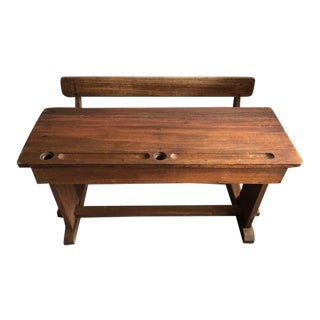 Antique French Two Person Child's School Desk With Built-In Bench For Sale