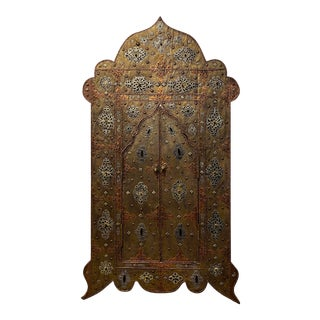 Exquisite Arched Moroccan Mirror With Brass, Silver and Other Metal For Sale