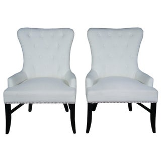 Arhaus Claybourne Upholstered Dining Arm Chairs- A Pair For Sale