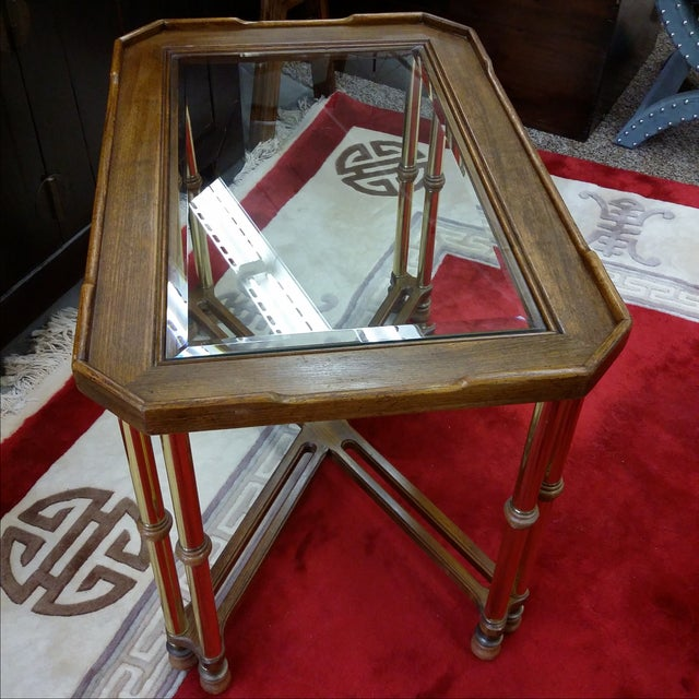 Gold Hollywood Regency Glass Top Wood & Brass End Table For Sale - Image 8 of 8