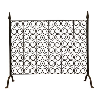 1920s Spanish Wrought Iron Free Standing Fireplace Screen For Sale