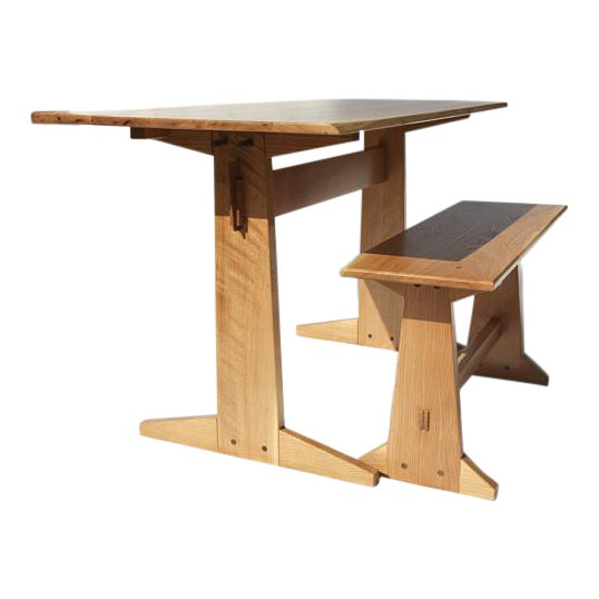 Japanese Style Trestle Table & Bench - A Pair For Sale