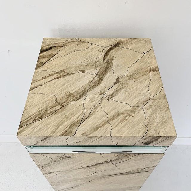 1970s Vintage Faux Marble Pedestal For Sale - Image 4 of 10