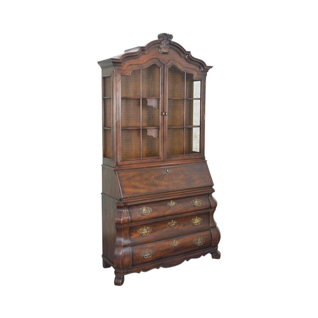 Henredon Four Centuries Baroque Style Bombe Oak Secretary Desk For Sale
