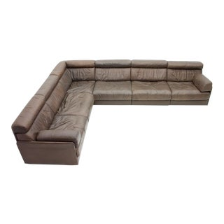 Large Modular Leather Sofa in Dark Brown Leather by De Sede, Switzerland, 1970s For Sale