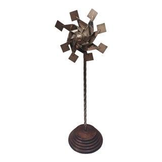 Vintage Sterling Pinwheel Sculpture on Wood Base For Sale