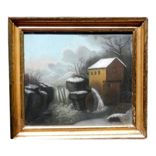 C.1820 Early American Power Mill Pastel Painting For Sale