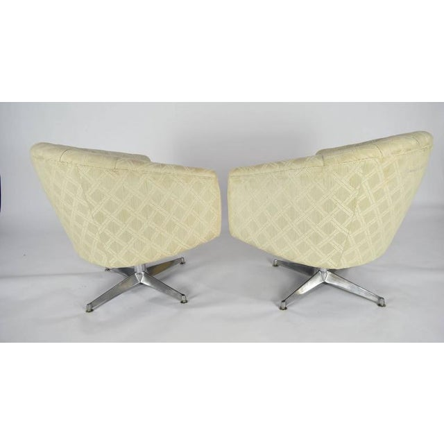 Ward Bennett Ward Bennett Swivel Lounge or Club Chairs - A Pair For Sale - Image 4 of 6