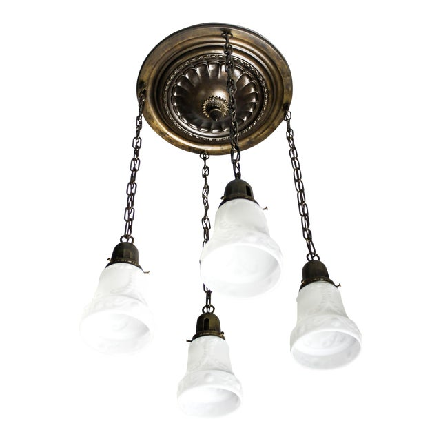 Embossed Flush Mount Light Fixture (4-Light) For Sale
