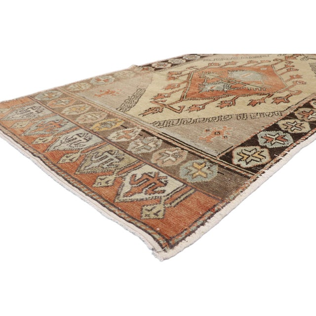52711 Vintage Turkish Oushak Runner with Rustic Belgian Arts & Crafts Style. Highlighting modern design aesthetics and...