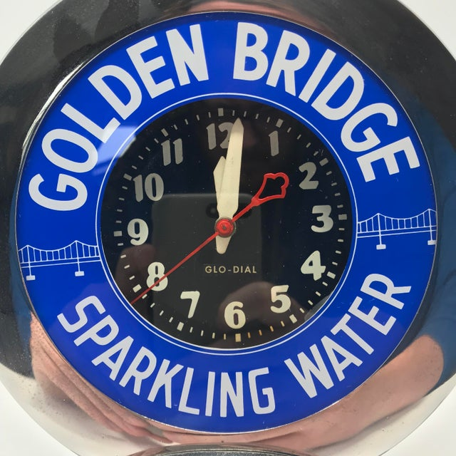 "Chrome Art Deco Neon Glo-Dial ""Golden Bridge Sparkling Water"" Advertising Clock For Sale - Image 7 of 11"