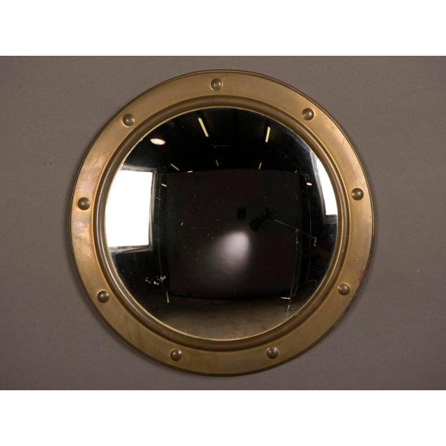 Vintage Brass Framed Convex Mirror, England circa 1950.