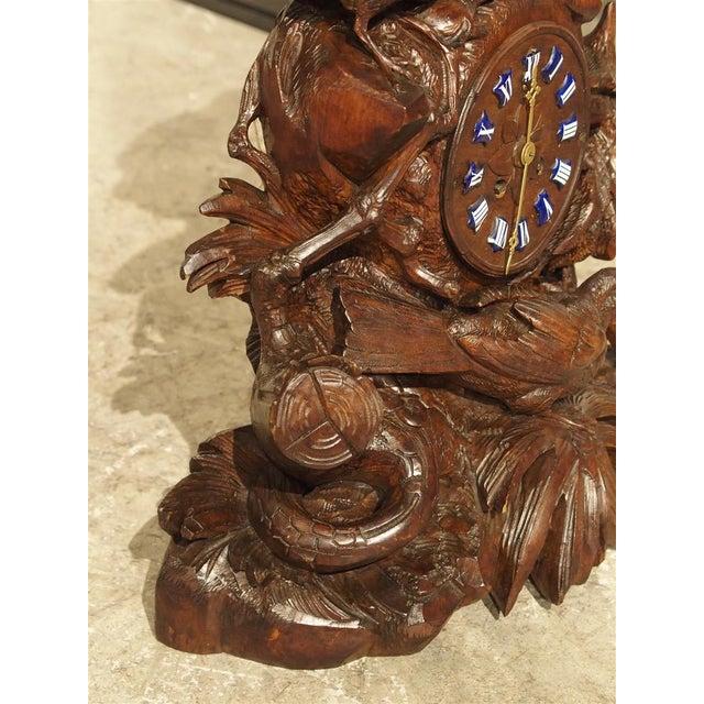 Blue Antique Carved Black Forest Mantel Clock, Circa 1885 For Sale - Image 8 of 13