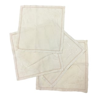 Early 20th Century Antique Linen Cocktail Napkins - Set of 4 For Sale