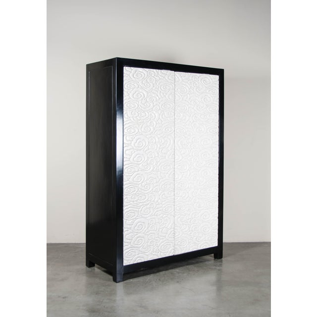 Contemporary Carved Floral 2-Door Armoire - Cream Lacquer by Robert Kuo, Hand Carved, Limited Edition For Sale - Image 3 of 7