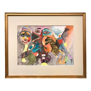 Vintage Watercolor Figurative Abstract Circus Painting For Sale