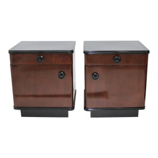Art Deco Night Stands 1930s Restored and Ebonized - a Pair For Sale