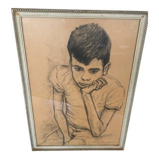 1960s Vintage Portrait of Boy Charcoal Drawing For Sale