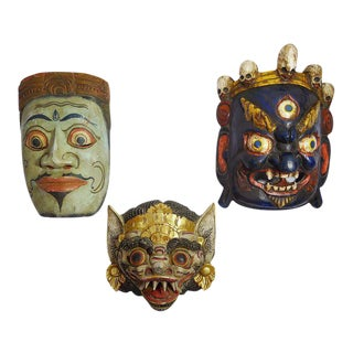 Vintage Hand-Carved & Painted Masks - Set of 3
