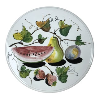 20th Century Italian Hand Pained Fruit Charger For Sale