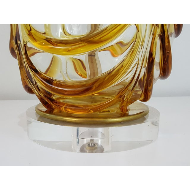 Murano Mid-Century Modern Butterscotch Murano Glass Lamp For Sale - Image 4 of 11
