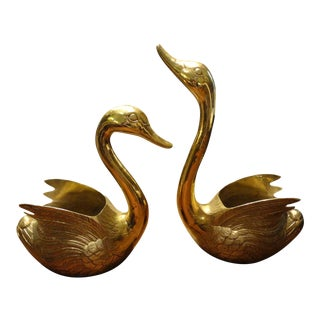 1960s Vintage Brass Swan Planters - a Pair For Sale