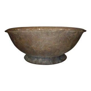 Large Antique 1800's Primitive Clay Rice Husking Bowl For Sale