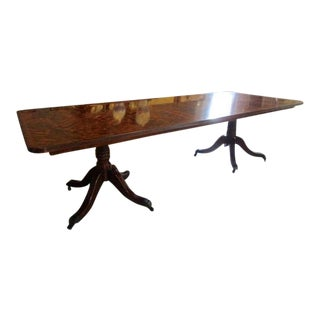 Regency Style Pedestal Dining Table With Extension in Flame Mahogany For Sale