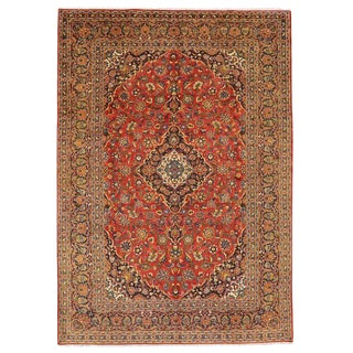 "Vintage Persian Kashan Luxe Style Wool Rug - 9'3"" X 13'4"" For Sale"
