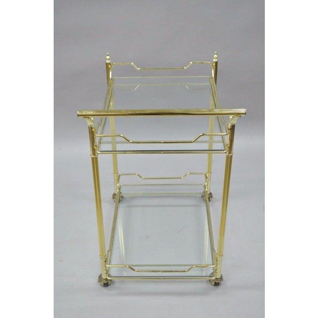 Mid Century Modern Brass Plated Metal & Glass Gold Rolling Bar Tea Cart - Image 7 of 11