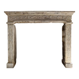 Antique French Fireplace of Limestone, 19th Century, Louis XIV For Sale