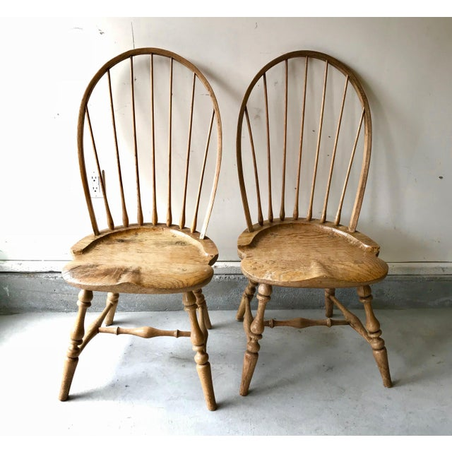 Americana 19th Centur Early American Antique Oak Windsor Chairs - Set of 4 For Sale - Image 3 of 11