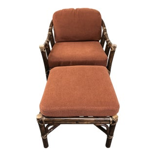 McGuire Vintage Lounge Chair + Ottoman For Sale