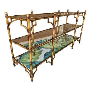 Hollywood Regency Vintage Faux Bamboo Metal Console Table For Sale