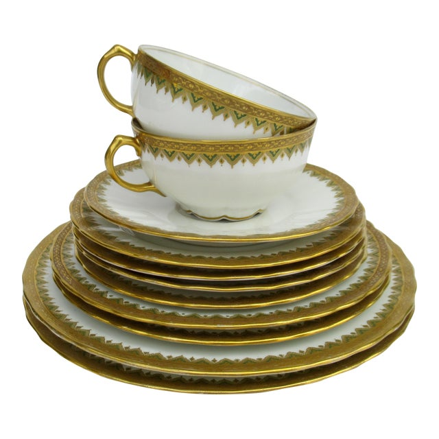 "C1930s French Art Deco Limoges ""Elite Works"" 24k Gilt Gold & Green Rimmed Asst. Dishes & Cups -Set of 11 For Sale"