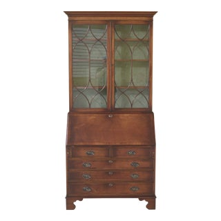 Bevan Funnell English Mahogany Secretary Desk Bookcase For Sale