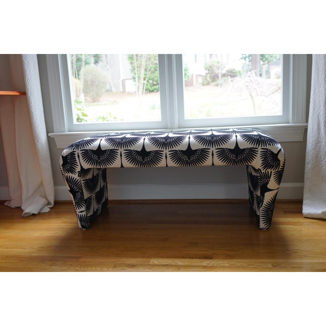 Velvet Swan Upholstered Waterfall Bench - Image 7 of 9