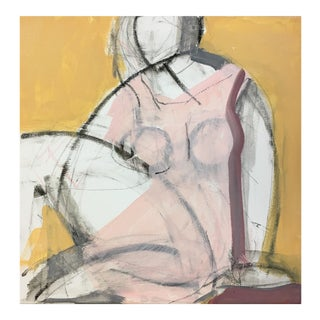Seated Woman Yellow Painting by Heidi Lanino For Sale