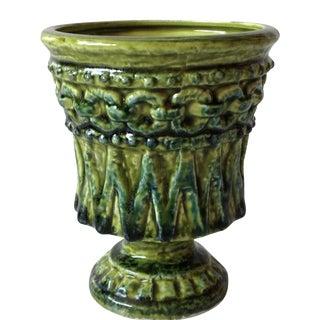 Mid-Century Textured Green Pottery Vase