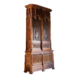 Gothic Revival Oak Cupboard Heavily Carved, circa 1850 For Sale
