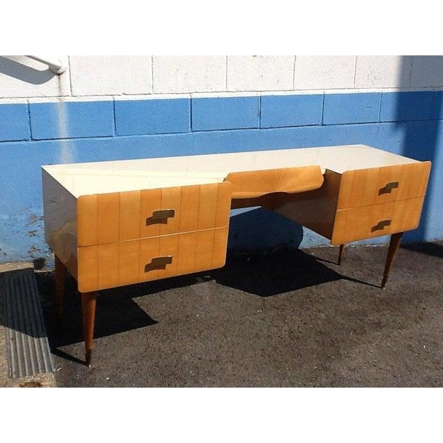 1950s Pier Luigi Colli Vintage Italian Design Ashwood Desk For Sale In New York - Image 6 of 8