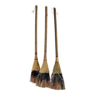 Primitive Rustic Straw Brooms - Set of 3