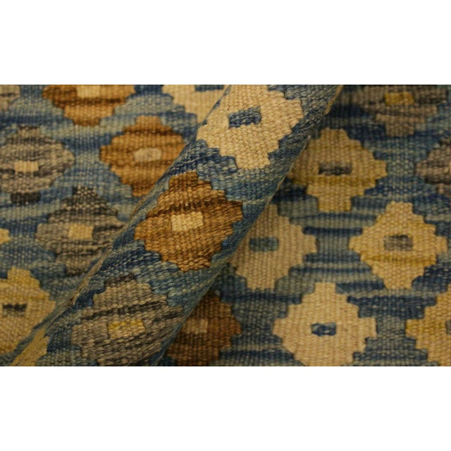 Shabby Chic Abstract Zorion Blue/Brown Hand-Woven Kilim Wool Rug -6'1 X 7'9 For Sale - Image 4 of 8