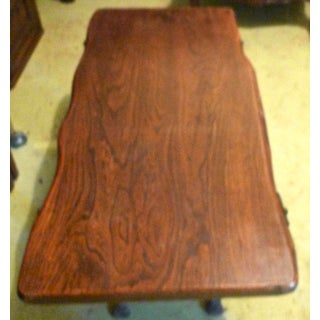 1960's French Small Walnut Coffee Table With Wrought Iron Legs Preview
