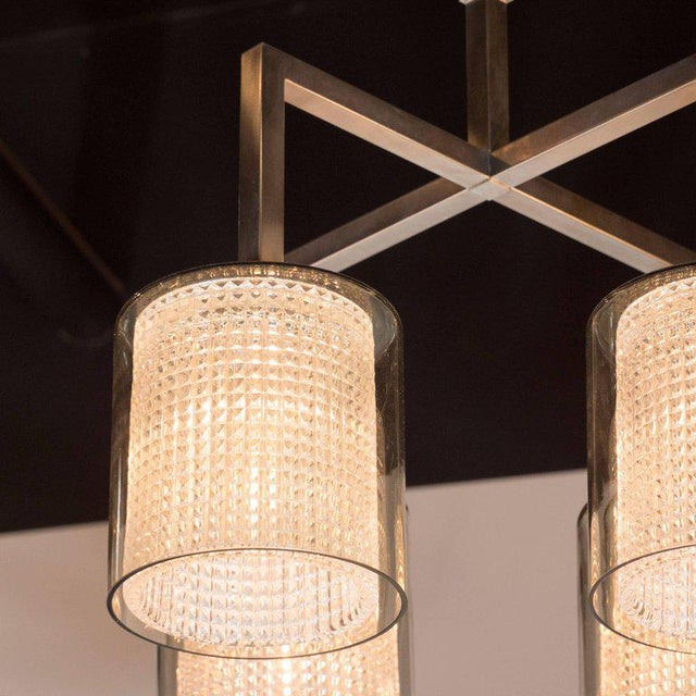 Orrefors Scandinavian Mid-Century Modern Four-Arm Chandelier, Carl Fagerlund for Orrefors For Sale - Image 4 of 11