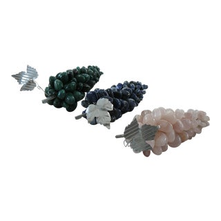 Natural Stone Quartz Grape Clusters Vintage - Set of 3 For Sale
