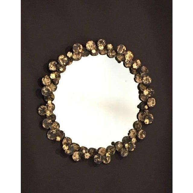 Brass Steel and Brass Brutalist Studio Wall Mirror by John De La Rosa For Sale - Image 7 of 7