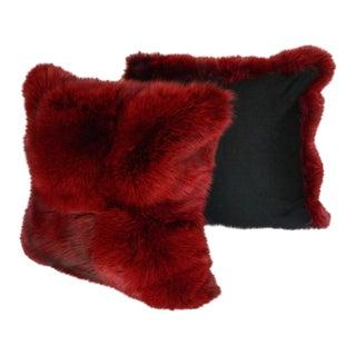 Burgundy Fox Pillows - a Pair