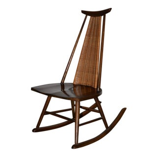 Arthur Umanoff for Raymor Mid Modern Walnut & Wicker Rocking Chair C.1960 For Sale