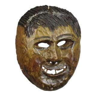A Folksy Hand Carved Tyrolian Carnival Fasnet Mask For Sale